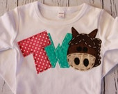 barnyard birthday shirt, two, horse, 2nd,  t shirt, barn yard, farm theme, girl