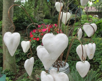 Set of Three - Handsculpted, Ceramic, Puffy Heart Ornament, Plant Pick, Wedding Decor