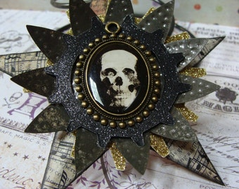 Skull, Altered Art, Assemblage Halloween Star Ornament Decoration