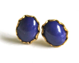 Vintage Navy Blue Oval Glass Gold Brass Scalloped Rhinestone Post Earrings - Wedding, Bridal, Bridesmaid, Holiday