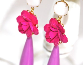 Purple Teardrop White Opal Magenta Pink Rose Flower  Drop Dangle Earrings - Wedding Bridal, Statement Earring, Bridesmaid,One of a Kind