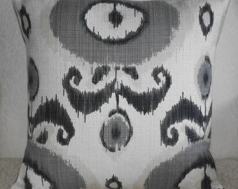 Ikat Pillow Cover in Gray, Black  and and Off White Tribal Design