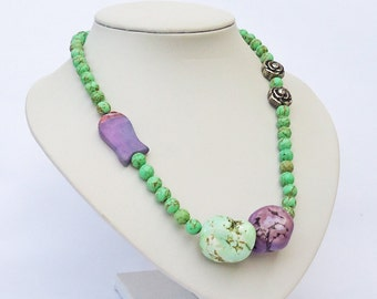 Turquoise Statement Necklace, Apple Green and Purple Turquoise Necklace, Chunky Necklace, UK Seller