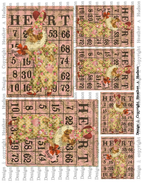 Victorian Vintage Shabby Roses Pink Valentine's  Clown Bingo Card Focals ATC Digital Collage sheet Printable