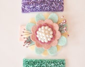 Hair Clip Set of 3 for Children Baby Toddler. Snap Clips. Glitter Purple. Glitter Mint. Chevron Felt Flower