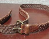 Vintage Braided Leather LAUREN by Ralph Lauren Long Adjustable Multisize UNISEX Belt