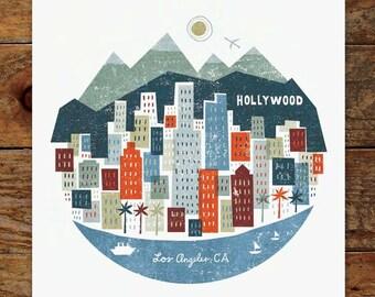 11x14 Colorful City, Los Angeles Skyline, Art Print