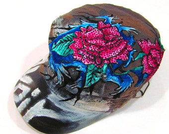 Hand Painted Floral with Wave Tattoo Military Hat