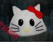 INSTANT DOWNLOAD Kitty Hat Crochet Pattern
