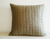 Quilted Linen and Silk Blended Pillow , Quilted Cushion Cover , Taupe Color Pillow , Warm Grey Linen Pillow