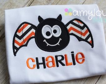 Personalized Bat Toddler Tee Shirt - Black, Orange, White Chevron - Boy - Halloween