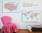 Canvas Map, SET of 2, USA and World, 24X36, Travel Artwork, Travel gift, Maps for Girls, Maps for kids