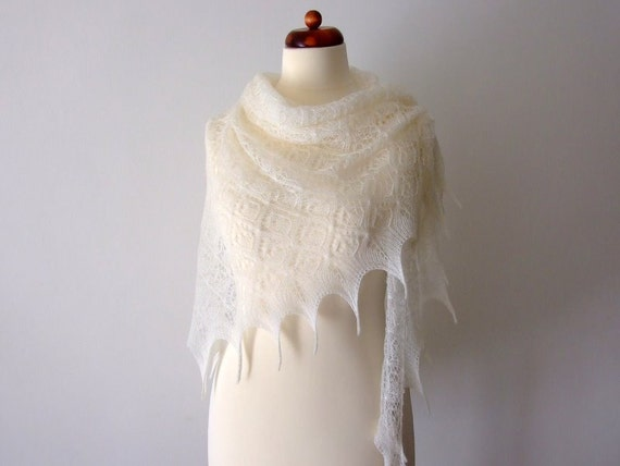 lace bridal shawl, wedding shrug cover up, knitted lace scarf, triangular shawl, custom colors, MADE TO ORDER