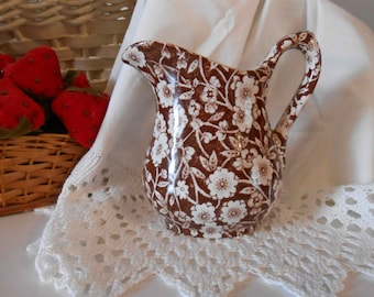 Brown Calico Pitcher England Staffordshire Cream