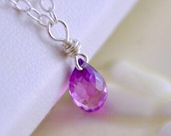 June Birthstone Necklace, Purple Pink Alexandrite Color, Tiny Kunzite Quartz Teardrop, Child's Jewelry, Sterling Silver