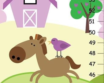 Baby girl Growth Chart ,Lilac Horse Pony, Girls Kids Bedroom Baby Nursery Wall Art