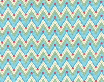 Pedal Pushers - Chevron Garden in Sky by Lauren + Jessi Jung for Moda Fabrics