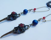 Red and Blue Hummingbird Skull Earrings
