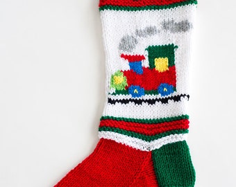 Knit Red Train Christmas Stocking - Personalized