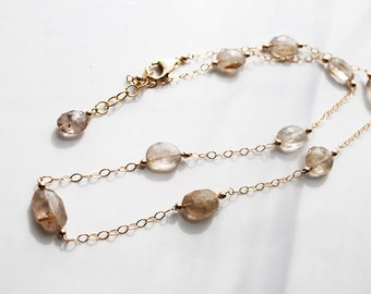 Golden Rutilated Quartz, 14k Gold Filled Chain Necklace