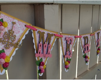 Handmade Banner - Custom made - GO GREEN - Name Pennnant Banner Happy Birthday Baby Shower Bridal Shower Damask