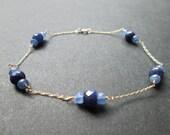 14k solid gold, genuine sapphire bracelet- September birthstone