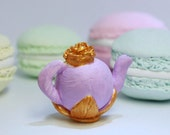 1/12TH scale Shabby chic Miniature lilac and gold teapot for your dollhouse