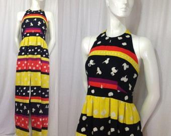 1960s halter dress Primary Colors waffle weave Backless Empire waist Maxi Split seam