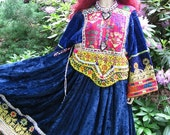 On Sale! Blue VELVET Vintage HEAVILY Beaded Gypsy Hippie OOAK Dress Small Medium