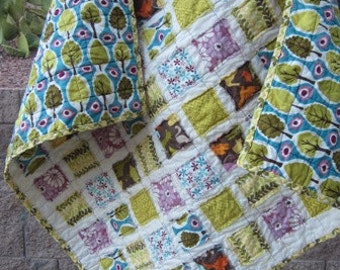 Just Reduced ......Central Park......A Fray Edge Mini Preemie Travel Size Quilt 31X31...was 38.00...now 29.00