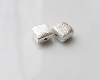 2 Pcs  6mm sterling silver brushed square beads , brushed square spacer bead