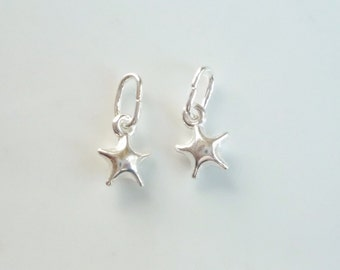 2 pcs Sterling silver , puffy   Star charm (11X8mm).