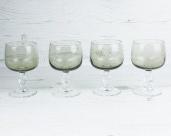 Vintage Drinking Glasses - Smokey grey small Glassware Kitchenware Barware Collection Hexagon
