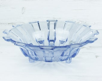 Vintage Blue Glass Fruit Bowl - Serving Dish Fruit Decor Geometric Glassware