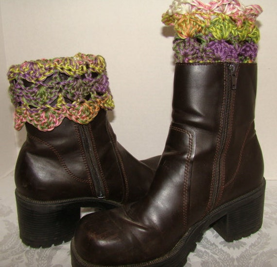 Hand Crochet boot cuffs in pink, green, lavender with scallop edging