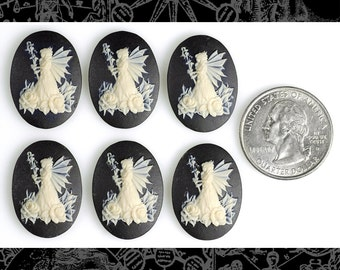Six Black and White Queen Fairy Cameos 24x18mm Cameos     CAM123