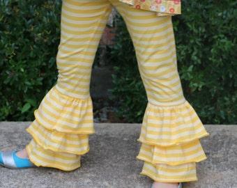 yellow and lemon yellow striped triple ruffle leggings sizes 12m - 12 girls