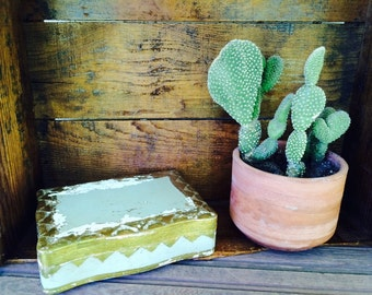 Vintage Wooden Box Green and Gold