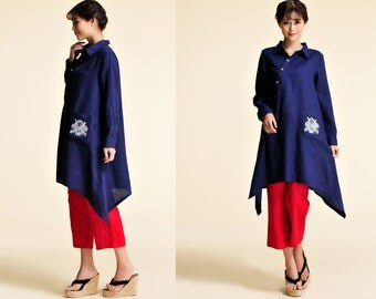 Gladiolus/ Linen Women Blouse with Asymmetrical ButtonPlacke  / NO EMBROIDERY/ 28 Colors/ RAMIES