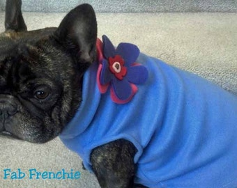 French Bulldog Sky Blue Cornflower Blue  Fleece Pullover Jacket with Stand Up Collar