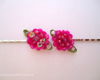 Fabric hair slides - Iridescent hot pink sequin flowers embellish hair accessories TREASURY ITEM