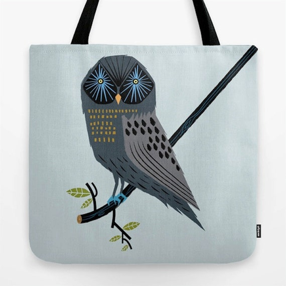 "The Perching Owl - illustrated Tote Bag ( 18"" x 18"") - iOTA iLLUSTRATiON"