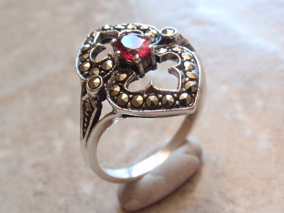 Red Sapphire Ring Sterling Silver Marcasites Color Enhanced Oval Size 9 Upcycled Vintage