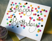 Happy Birthday Gold Foil Calligraphy and Confetti Blank Birthday Card