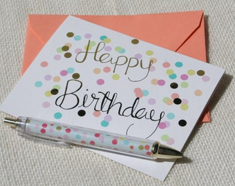 Happy Birthday Gold Foil Calligraphy and Pastel Confetti Blank Birthday Card