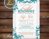 Printable Bridal Shower Invitation - Teal and Orange Decorative Boarder Wedding Shower Invitation
