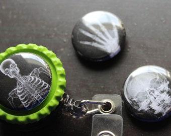 X-Ray Interchangeable Badge Holder Sugar Skull Badge Holder Retractable Badge Holder