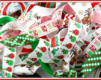 Christmas Grab Bag 20 Yard Grosgrain Ribbon Lot - Assortment - Hairbow Supplies, Etc.