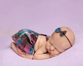 newborn girl plaid SKIRT set (Savannah) - photography prop - brown, pink, magenta, teal, aqua