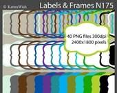 Labels and Frames Digital Clip Art Kit  PNG files CU Instant Download N175